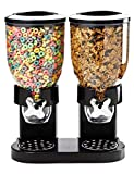Double Chamber Airtight Cereal And Dry Food Dispenser With Built In Spill Tray