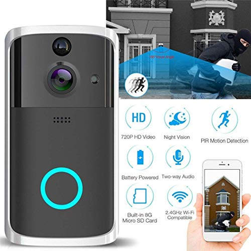 Mopoq WiFi Smart Video Doorbell, Wireless Door Bell Smart Home 720P HD WiFi Camera Security with Two-Way Talk & Video,PIR Motion Detection, Night Vision