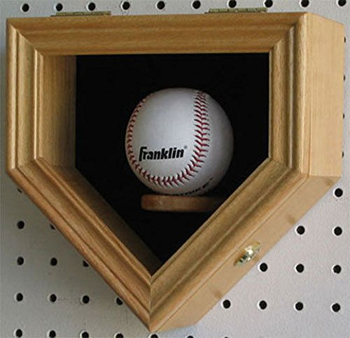 Oak Home Shape Shadow Box For A Autographed Baseball Locks Uv Protection