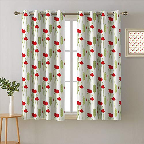 Jinguizi Poppy Grommet Curtain Kids,Gentle Floral Composition with Poppies Pale Green Colored Branches,Woven Darkening Curtains,72W x 63L