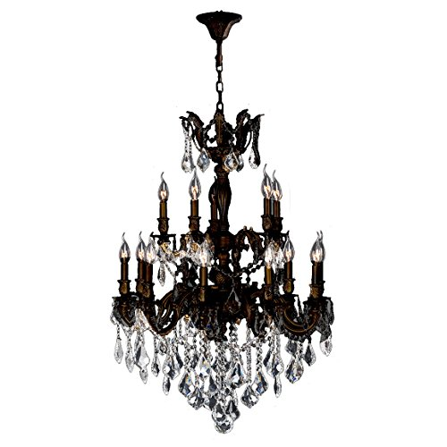ersailles Collection 15 Light Flemish Brass Finish and Clear Crystal Chandelier 27