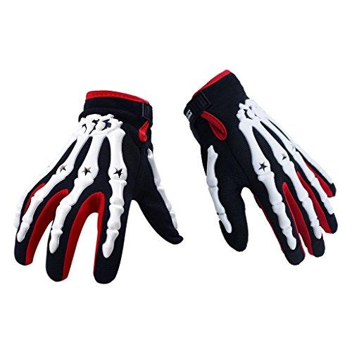 Price comparison product image Jade Motorcycle Bike Skeleton Racing Full Finger Mechanic Gloves(M, Red)