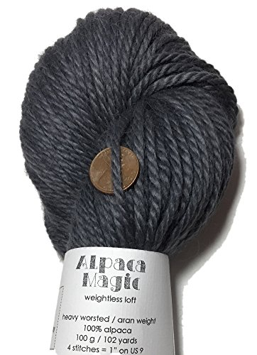 Artisan Yarns Hand Dyed Baby Alpaca Yarn, Solid Charcoal Gray, Heavy Worsted Weight, 100 Grams, 102 Yards, 100% Baby Alpaca