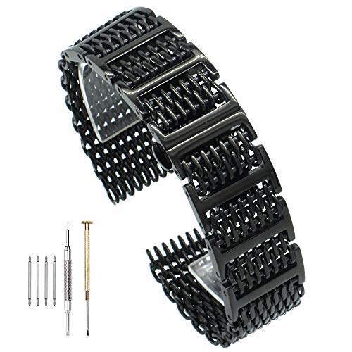 Stainless Steel Watch Bands Watch Strap 20mm/22mm/24mm Double Locking Clasp Bracelet ()