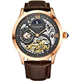 Stuhrling Original Mens Rose Gold Tone Stainless Steel Automatic Watch, White Skeleton Dial, Rose Gold Accents, Dual Time, AM/PM Sun Moon, Brown Leather Band, 571 Series