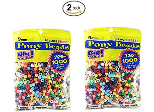 Pony Beads Multi Color 9mm 1000 Pcs in Bag (Bulk Pony Beads)