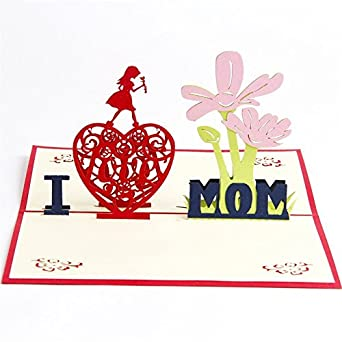 Amazon I LOVE MOM Pop Up Birthday Cards For Women Mum 3D Mothers Day Card Thank You Anniversary All Occasion Industrial
