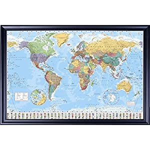 FRAMED GB Eye World Map Poster 24x36 Poster Dry Mounted in Executive Series Black Wood Frame With Beaded Lip - Crafted in USA