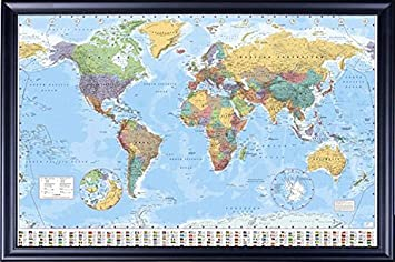 Amazon framed gb eye world map poster 24x36 poster dry mounted framed gb eye world map poster 24x36 poster dry mounted in executive series black wood frame gumiabroncs Gallery