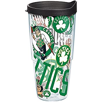 Clear Tervis 1276081 NBA Boston Celtics All Over Tumbler with Wrap and Black with Gray Lid 24oz Water Bottle