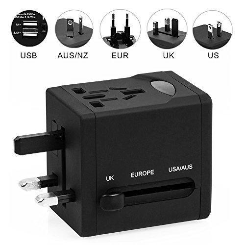 World Travel Adapter, HaWaTour Dual USB Ports Universal Worldwide Travel Adapter All-in-one International [USA UK EU AU] Plug (Black)