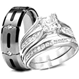 His & Hers 3 Pieces, 925 Sterling Silver & Titanium Engagement Wedding Rings Set