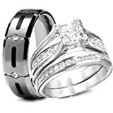 His & Hers 3 Pieces, 925 Sterling Silver & Titanium Engagement Wedding Rings Set (Size His 12 - Hers 5)