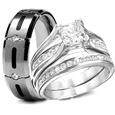 his hers 3 pieces 925 sterling silver titanium engagement wedding rings set - Engagement Wedding Ring Sets