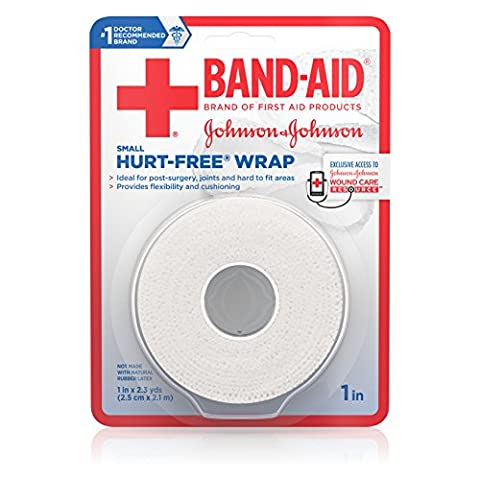 Band-Aid Hurt-Free Wrap For Securing Dressings On Post-Surgical Wounds, 1 Inch By 2.3 Yards, Small (Pack of - First Aid Dressing Medicine