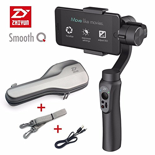 Zhiyun Smooth-Q 3-Axis Handheld Gimbal Stabilizer for Smartphone Like iPhone - Samsung. Huawei and Gopro Hero 5 4 3 Wireless Control (Black)