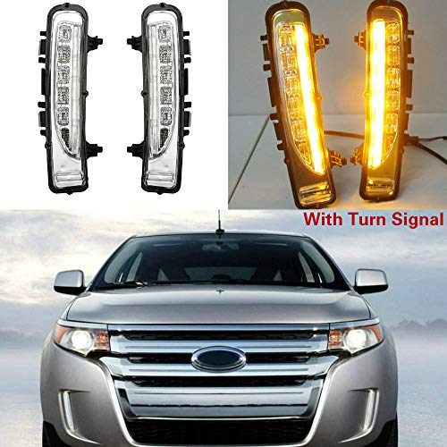 MotorFansClub LED Daytime Running Lights For 2011-2014 Ford Edge DRL Fog Lamp Xenon White LED as DRL & Amber Yellow LED as Turn Signals