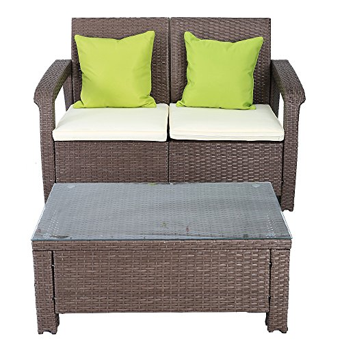 Wicker Loveseat (2 Piece Cushioned Furniture Set Loveseat Wicker Rattan Seat Sofa All Weather Outdoor Garden Patio, 2 Throw Pillows)