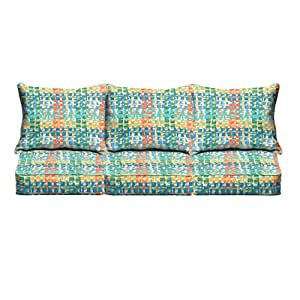Mozaic Co. Blue Green Squares Indoor/ Outdoor Corded Sofa Cushion Set
