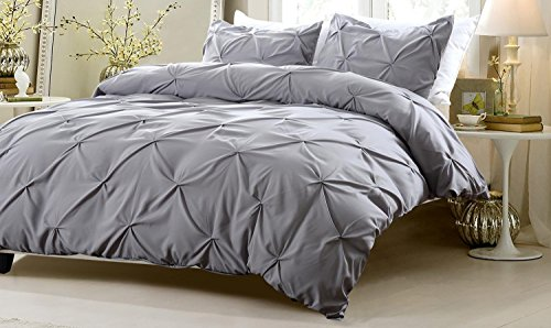 2pc pinch pleat design gray duvet cover set style twintwin xl cherry hill collection