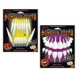 Halloween Pumpkin Carving Kit - Pumpkin Teeth for your Jack O' Lantern (18 White Fangs and 18 White Buck Teeth)