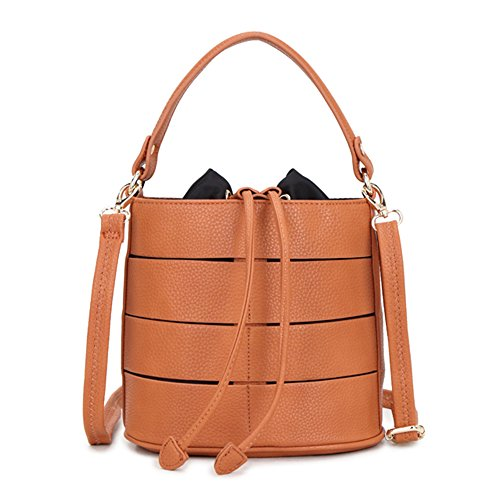 LS Sling Handle Bucket Grab Bag Fashion Hollow Splicing Design Ladies Drawstring Cross-Body Shoulder Bags with Long Adjustable and Detachable Strap Orange