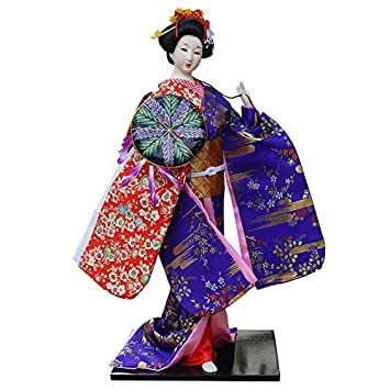 JG.Betty 22 55cm Japanese Folk Kimono Geisha Doll Maiko Doll Puppet Stand on Base for Decorative Home and Hotel Gifts Doll 22 Inch, Purple Doll JD0036