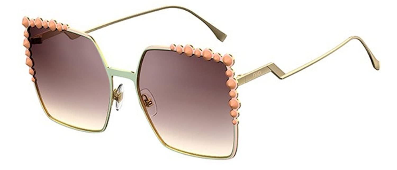 db74d2c028989 Amazon.com  New Fendi FF 0259 S 35J NQ Can Eye Light Green Gold Pink  Sunglasses  Clothing