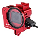 PULUZ Aluminum Alloy Housing Shell Case CNC Protective Cage with Cold Shoe Mount & 52mm UV Lens Filter for Gopro Hero6/ 5 (No Back Cover) (Red)