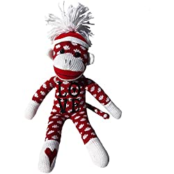Valentines Day Sock Monkey, Embroidered Heart Love Sock Monkey, Classic Red Sock Monkey with White Dots and Pom Pom Tossle Hat - Perfect Valentines Day Gift