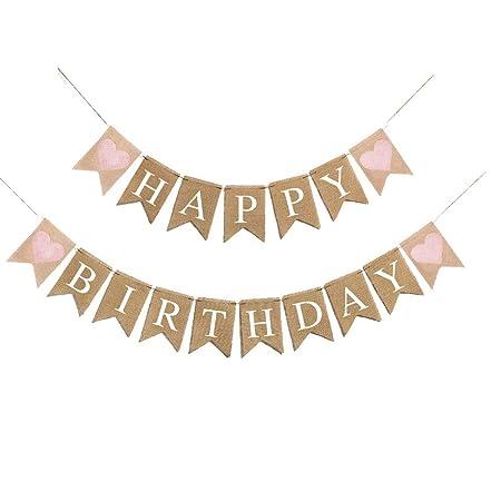 Amosfun 1 unid Garland Feliz Cumpleaños Cartas Garland ...