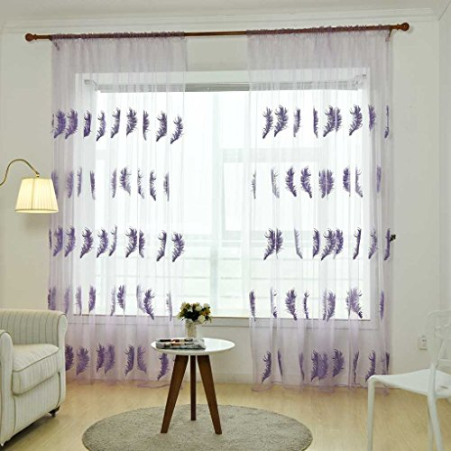 Xuanhemen Big Feather Embroidered Voile Curtains for Room Bedroom Sheer Curtains Tulle Window Drapery Fabric Drapes Organdy