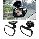 1PCS Black 360 Degree Adjustable Safety Baby Child Backseat Mirror Shatter-Proof Acrylic Baby Mirror Car Rearview Toddler Suction Visor Mirror Baby View Mirror for Auto Back Seat