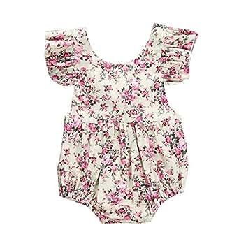 bc36912b8bc8 Amazon.com  BabiBeauty Baby Girls Floral Ruffles Backless Romper ...