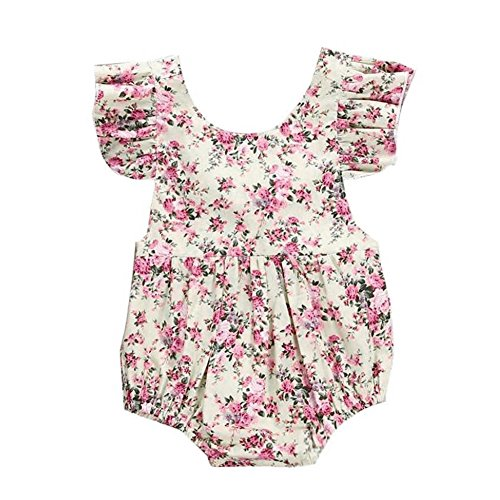 BabiBeauty Baby Girls Floral Ruffles Backless Romper Jumpsuit (Cream, 70/3-6 Months) Cream Ruffle