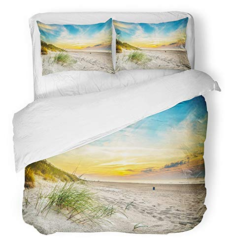 Mandalay Queen (Emvency 3 Piece Duvet Cover Set Breathable Brushed Microfiber Fabric Orange Scene Sand Dunes Against The Sunset Light on Beach in Northern Poland Bedding Set with 2 Pillow Covers Full/Queen Size)
