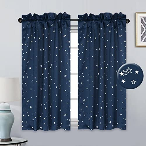 H.VERSAILTEX Thermal Insulated Kitchen Bath Laundry Bedroom Living Room with Rod Pocket Top Window Curtain Tiers for Kids – Navy with Glitter Star Pattern – Sold 2 Panels Pair 58 x 45