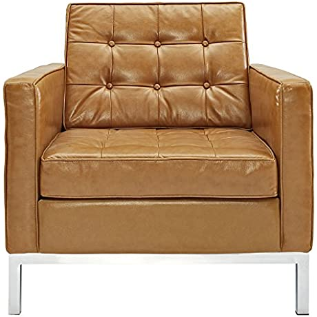 Modway Loft Leather Armchair In Tan
