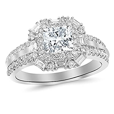 1.2 Cttw 14K White Gold Cushion Cut Double Row Baguette and Round Halo Diamond Engagement Ring with a 0.5 Carat H-I Color SI2 Clarity Center