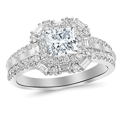 - 1.2 Cttw 14K White Gold Cushion Cut Double Row Baguette and Round Halo Diamond Engagement Ring with a 0.5 Carat H-I Color SI2 Clarity Center