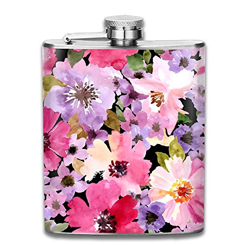 (CYVTO Watercolor-floral-seamless Portable Outdoor Stainless Steel Flagon Liquor Hip Flask - 7OZ)