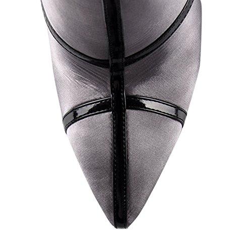 onlymaker Damen Handgefertigte Abgerundete Zehe Seitlichem Reißverschluss Schlanke Mode Stiefeletten Z-schwarzer Satin