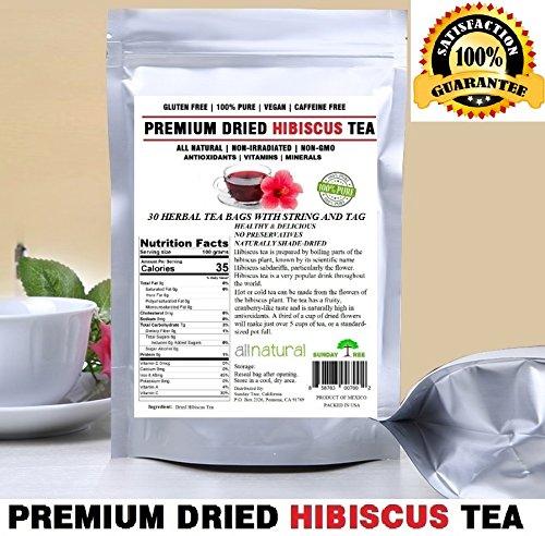 Hibiscus Tea 30 Tea Bags,Hibiscus Tea bags 100% Natural Premium Antioxidant Rich Tea Resealable Pouch