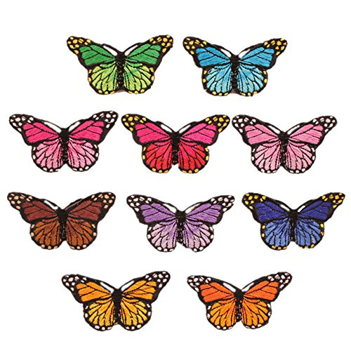 ESHOO 10 Pieces DIY Butterflies Embroidery Applique Patches Sew on Clothing, Bag, Curtain Applique (Sew Letters On)