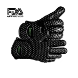 #1 Best Silicone Heat Resistant Grilling BBQ and Grill Gloves Set Can Withstand Temperatures up to 425 Degrees Perfect for Use in the Kitchen Handling All High Temperature Foods Use For Cooking and Baking Great Potholder for Handling Steam Pots with a Safe Grip Use 10 Fingers Making It Easier to Handle Hot Food Than Mitts! Great for Indoors and Outside! 1 Pair Gatorgrips Free 100% Lifetime Replacement Warranty!