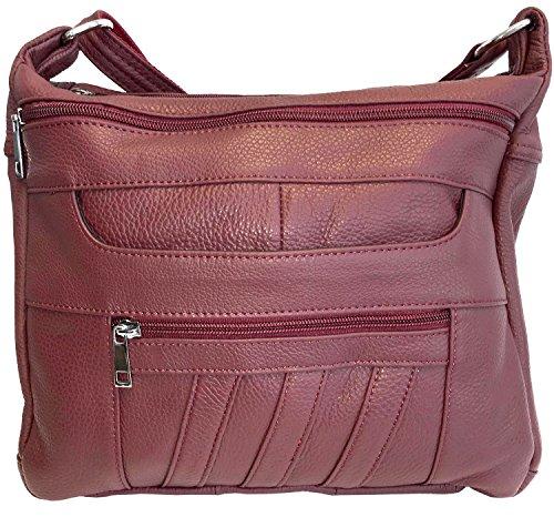 Leather Concealed Carry Crossbody Purse - YKK Locking CCW Ambidextrous Gun Bag Roma 7082, Wine