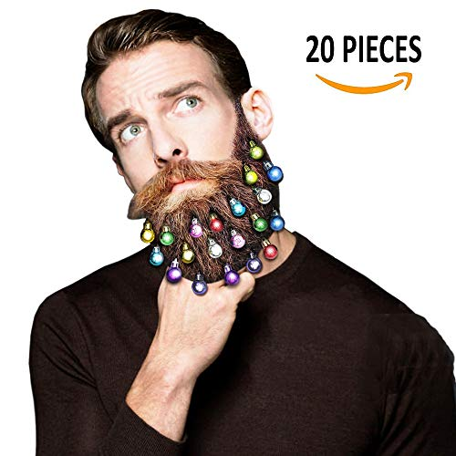 Beard Ornaments, 20pcs Colorful Christmas Facial Hair Baubles, Beard Clips for Men Christmas/New Year/Festival Spirit, Red, Green, Gold, Silver Mix