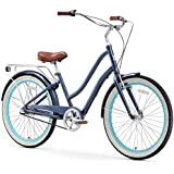 "sixthreezero EVRYjourney Women's 3-Speed Step-Through Hybrid Cruiser Bicycle, Navy w/Brown Seat/Grips, 26"" Wheels/ 17.5"" Frame"