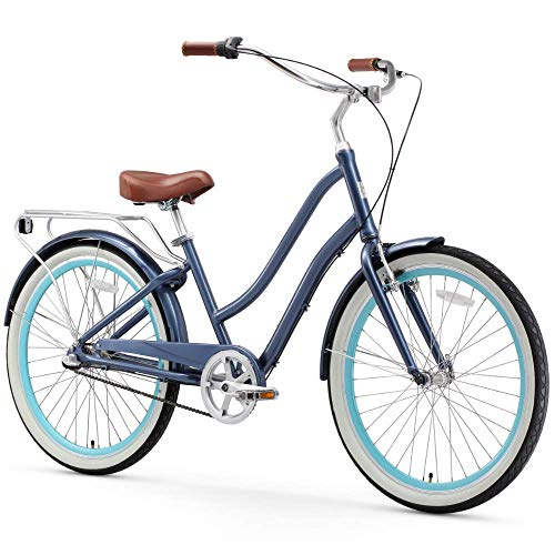 sixthreezero EVRYjourney Women's 3-Speed Step-Through Hybrid Cruiser Bicycle, Navy w/Brown Seat/Grips, 26