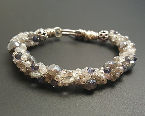 Labradorite, Moonstone, Iolite and Aquamarine Cluster Fine Gemstone Bracelet ()